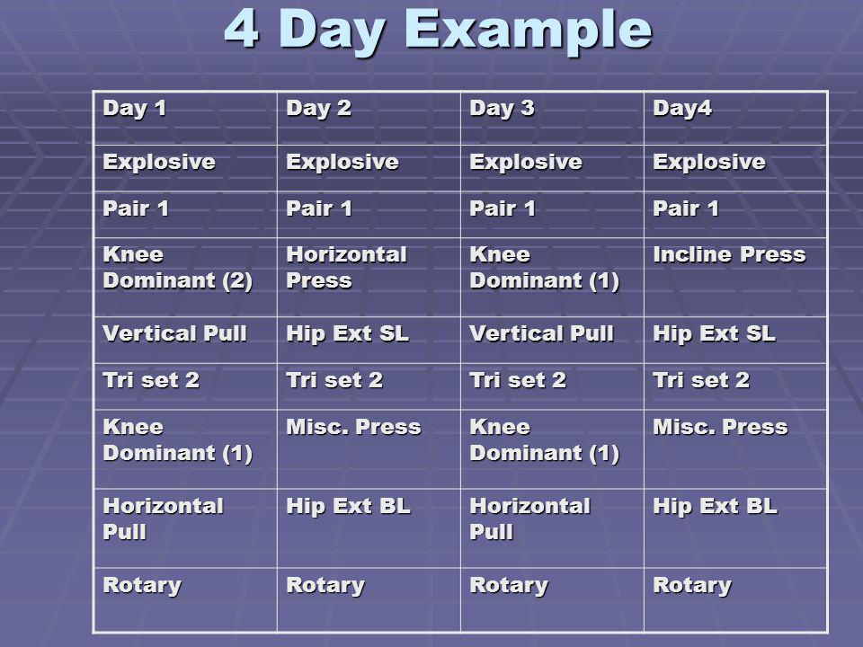 4 Day Example Day 1 Day 2 Day 3 Day4 Explosive Pair 1