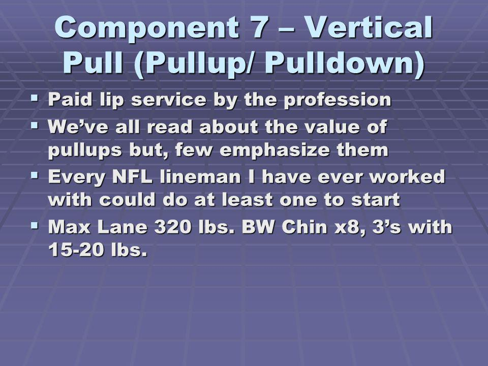 Component 7 – Vertical Pull (Pullup/ Pulldown)