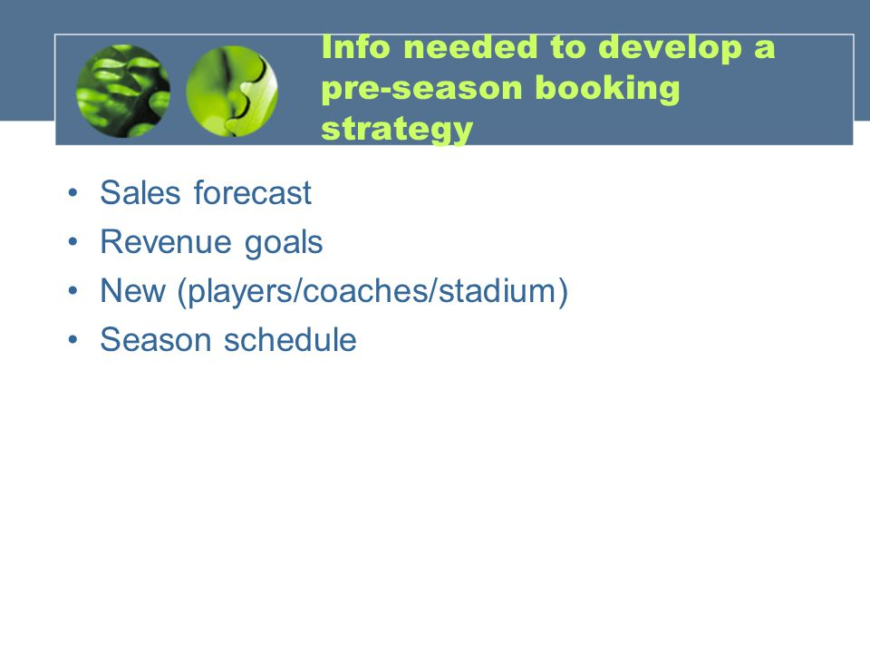 Info needed to develop a pre-season booking strategy
