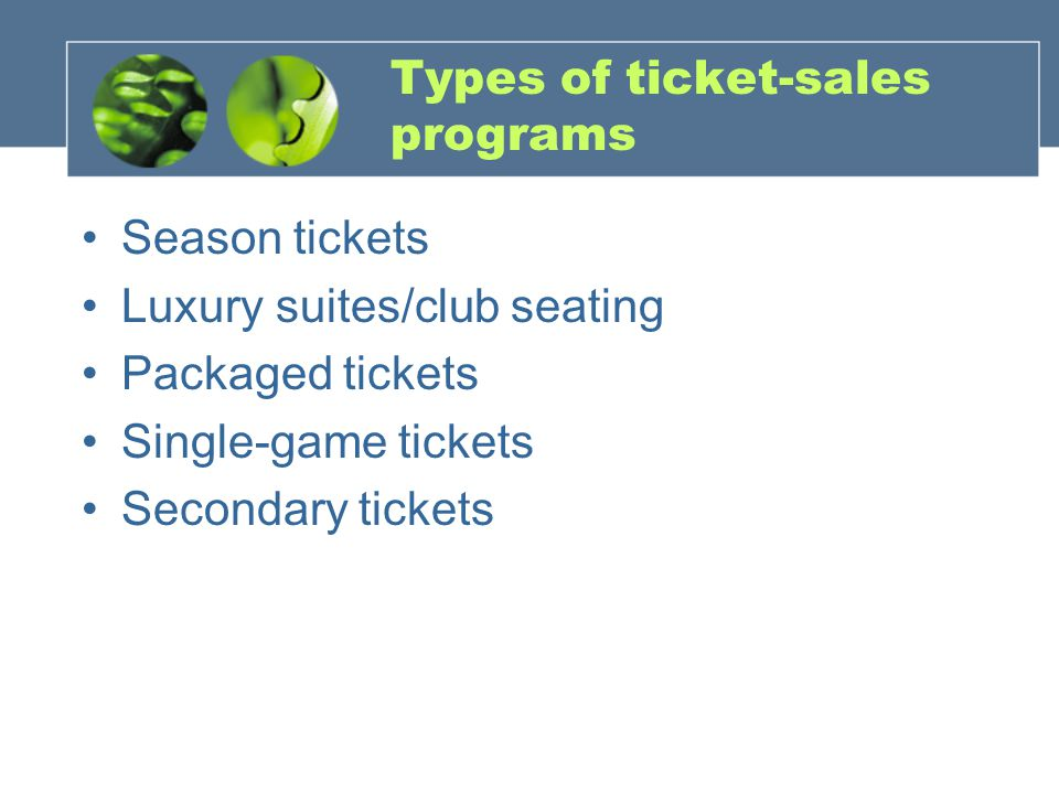 Types of ticket-sales programs