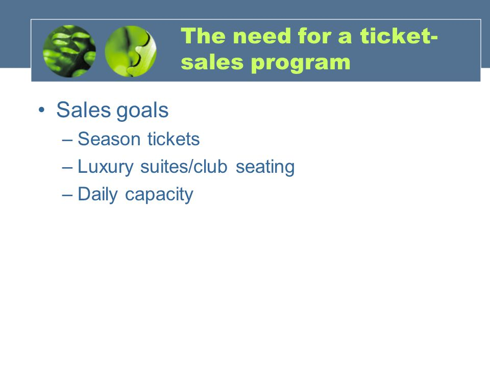 The need for a ticket-sales program