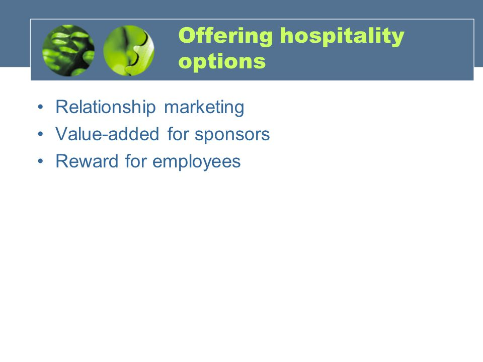 Offering hospitality options