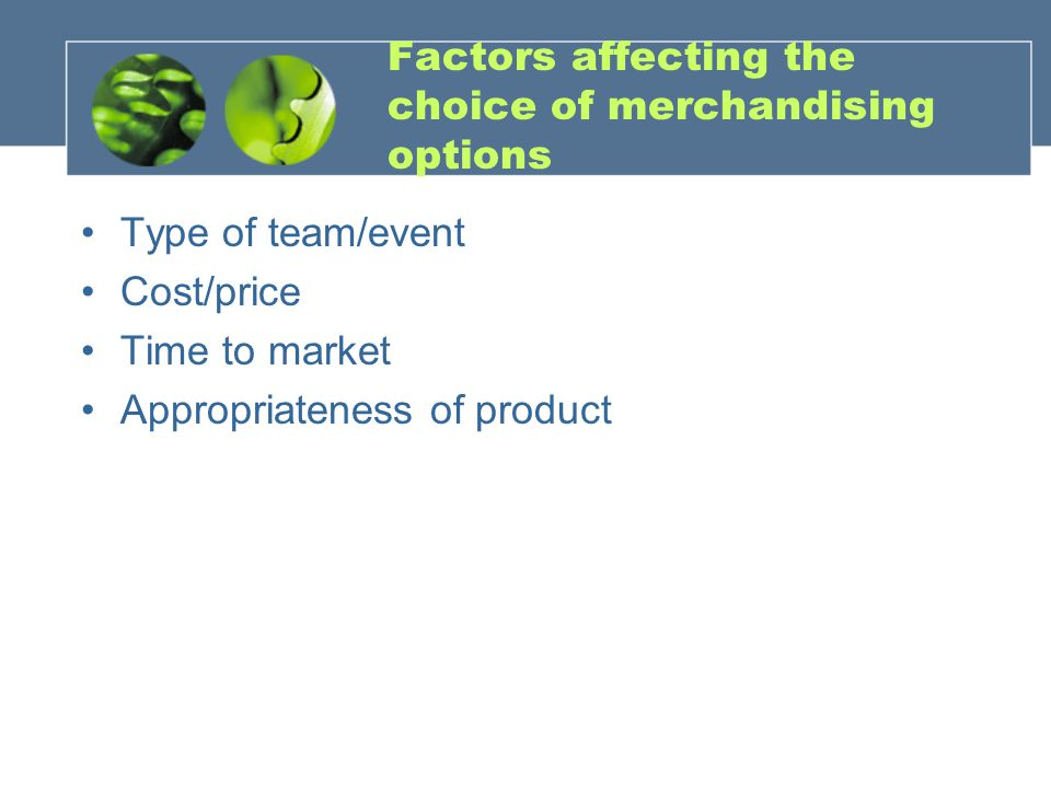 Factors affecting the choice of merchandising options