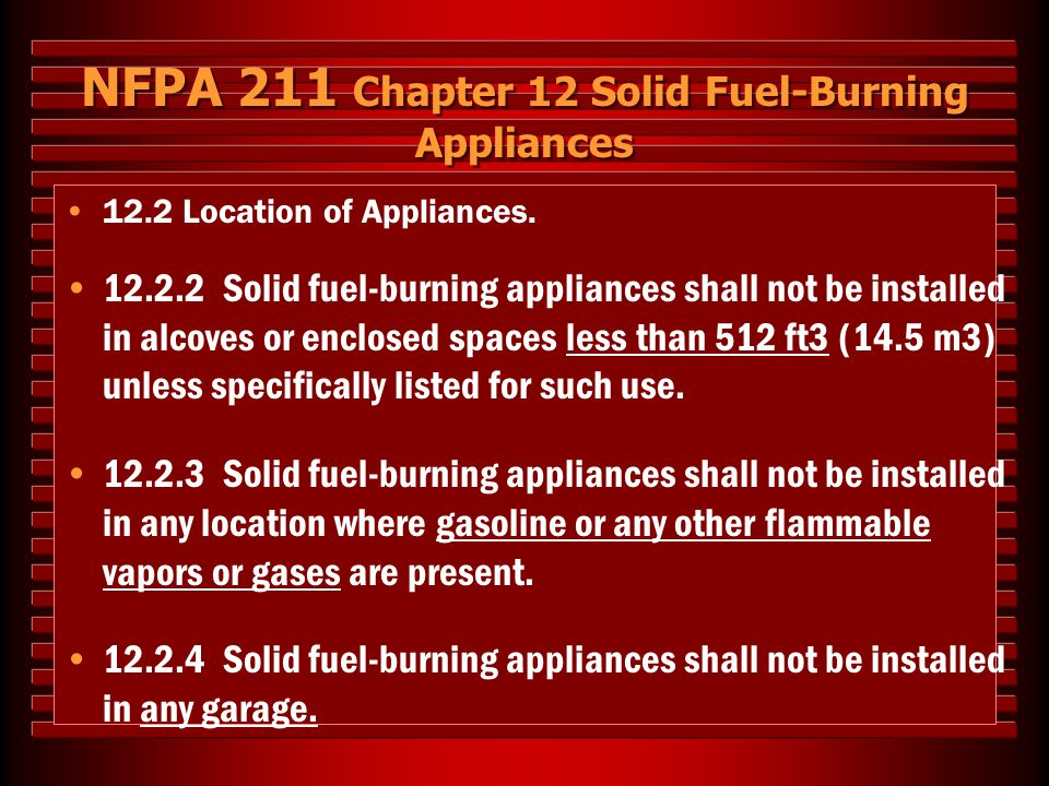 NFPA 211 Chapter 12 Solid Fuel-Burning Appliances