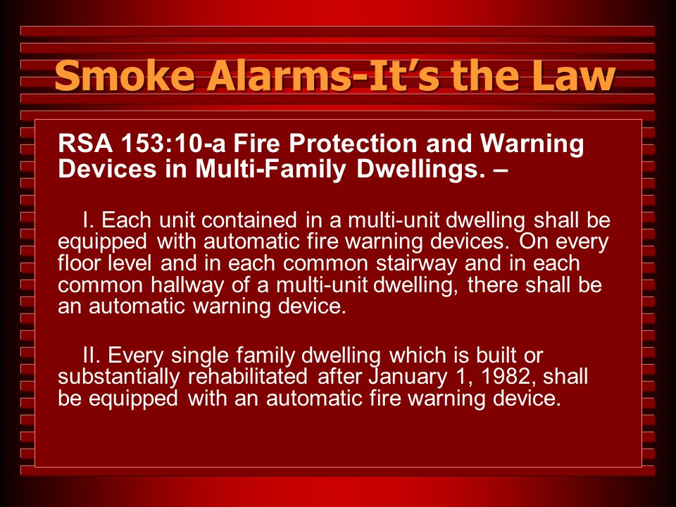 Smoke Alarms-It's the Law
