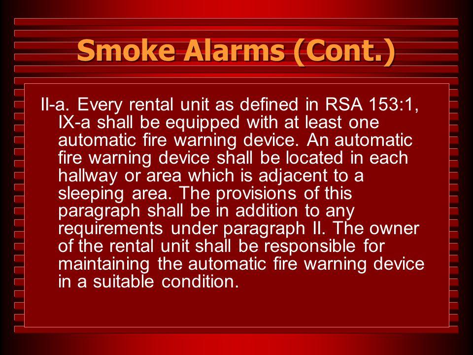 Smoke Alarms (Cont.)