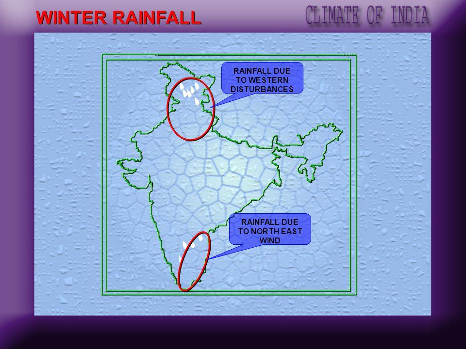 RAINFALL DUE TO WESTERN DISTURBANCES RAINFALL DUE TO NORTH EAST WIND