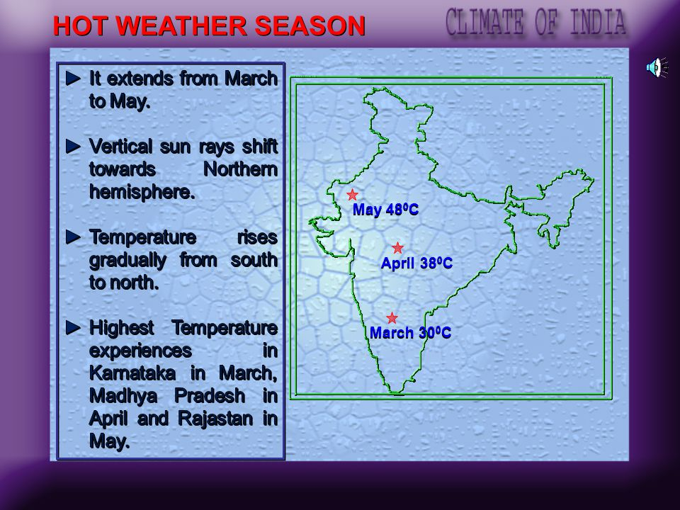 HOT WEATHER SEASON It extends from March to May.