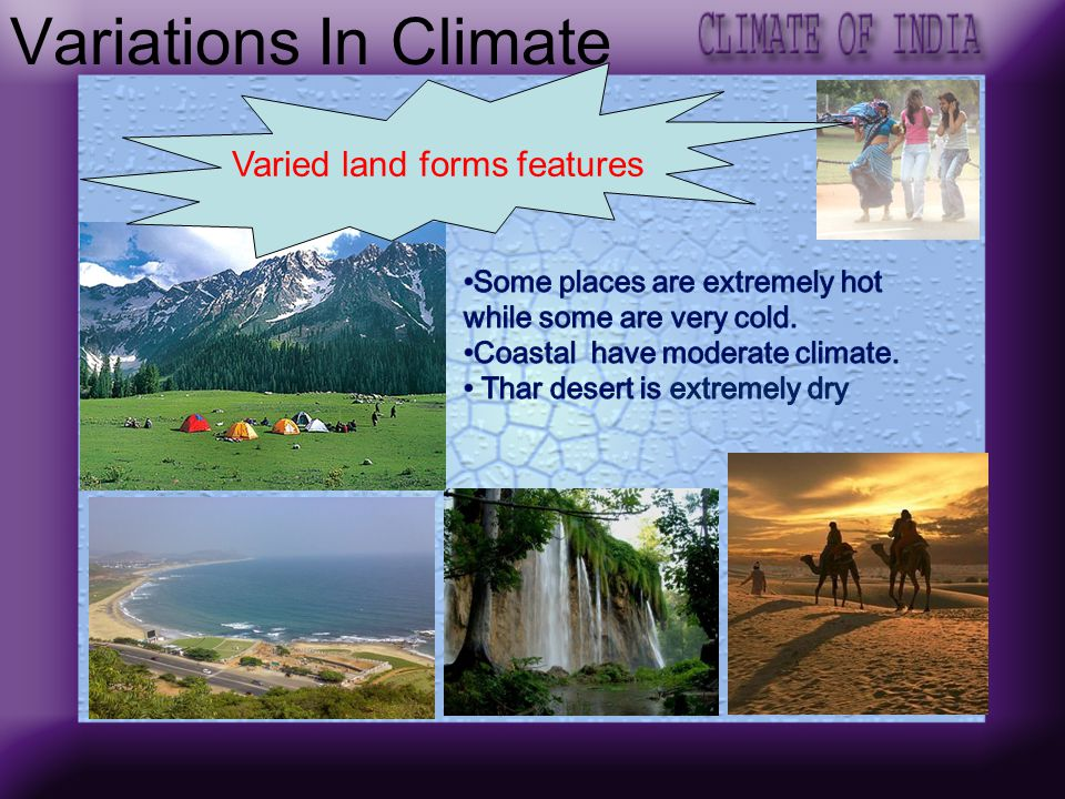 Varied land forms features