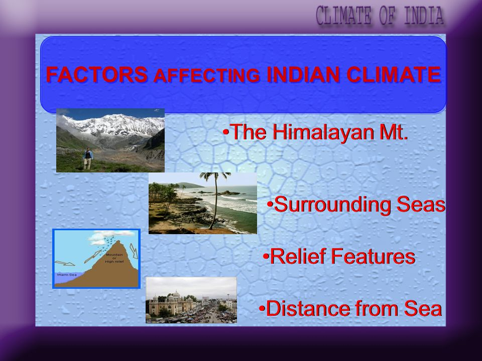 FACTORS AFFECTING INDIAN CLIMATE