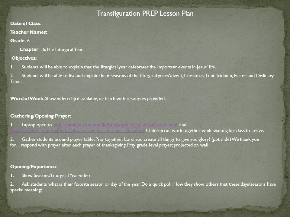 Transfiguration PREP Lesson Plan
