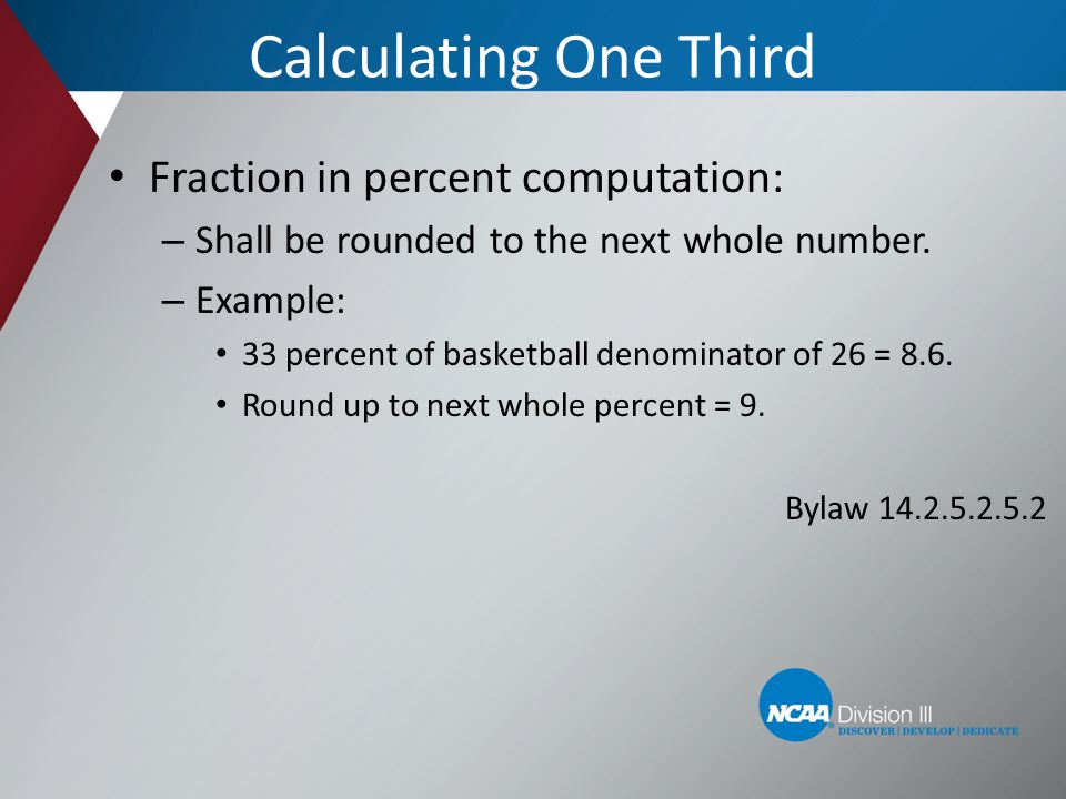 Calculating One Third Fraction in percent computation: