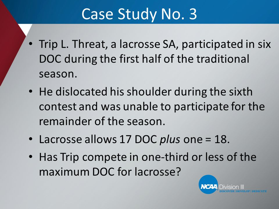 Case Study No. 3 Trip L. Threat, a lacrosse SA, participated in six DOC during the first half of the traditional season.