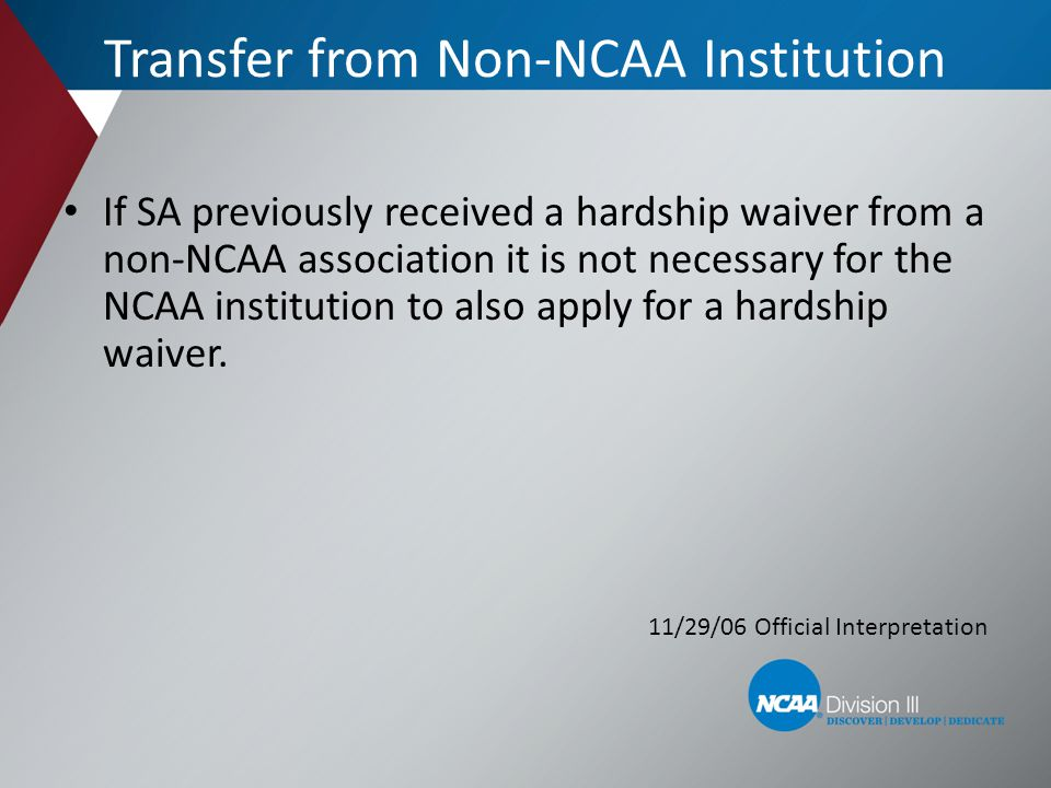 Transfer from Non-NCAA Institution