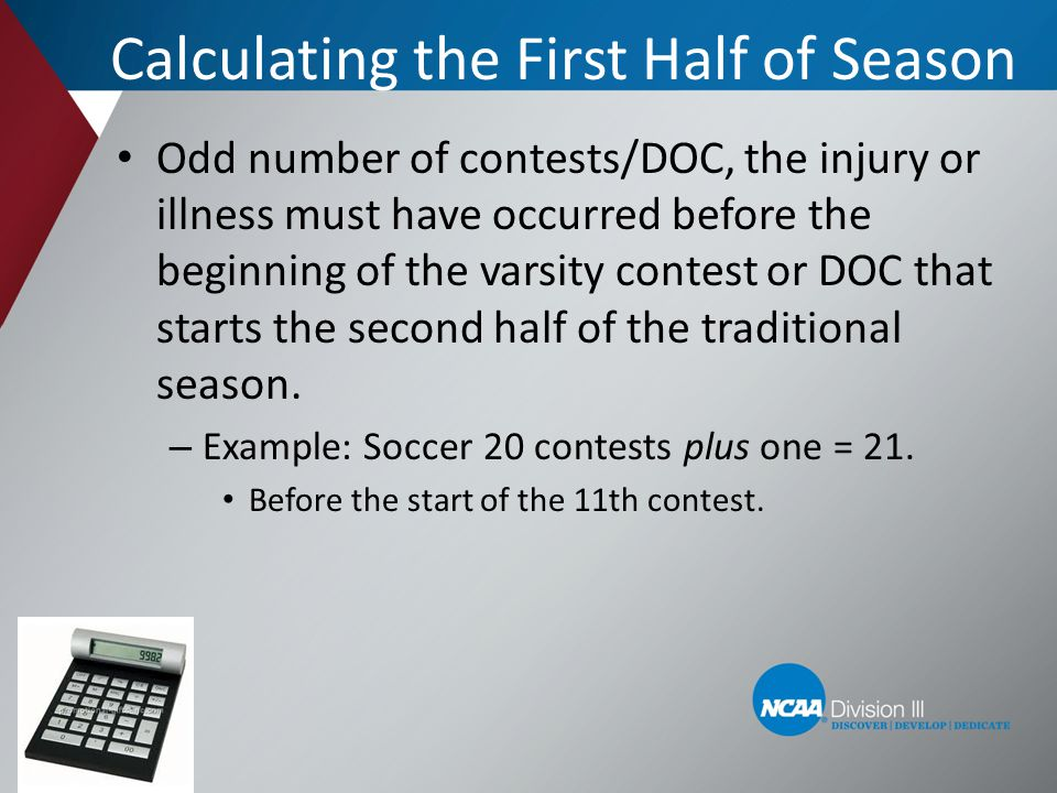 Calculating the First Half of Season