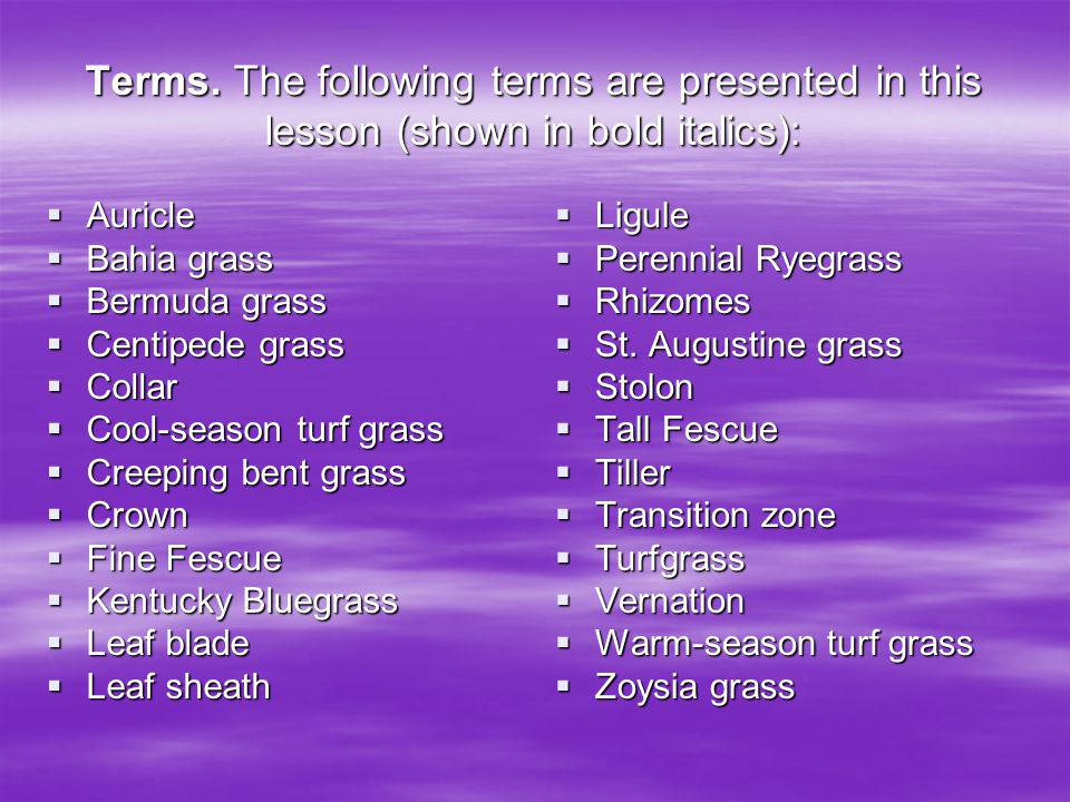Terms. The following terms are presented in this lesson (shown in bold italics):