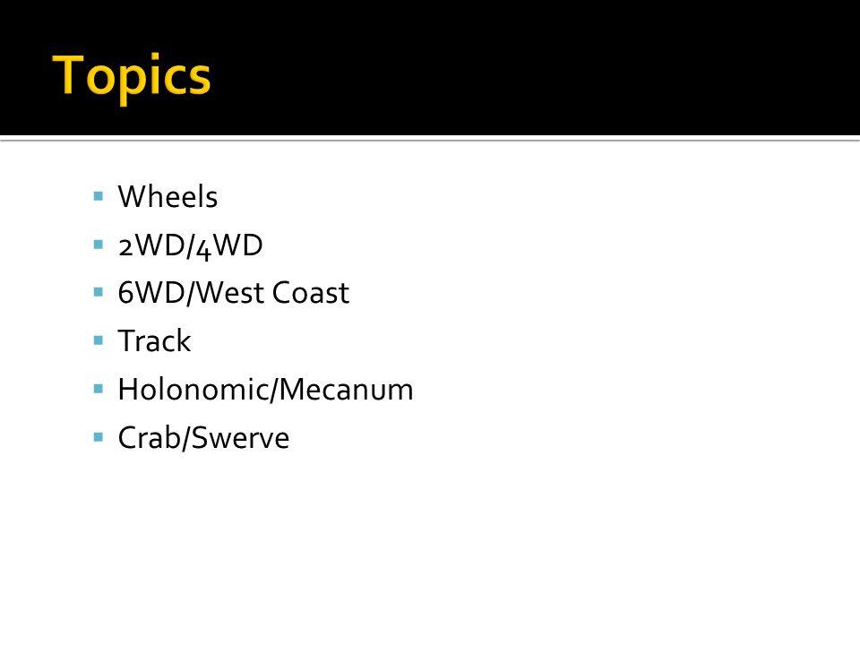 Topics Wheels 2WD/4WD 6WD/West Coast Track Holonomic/Mecanum