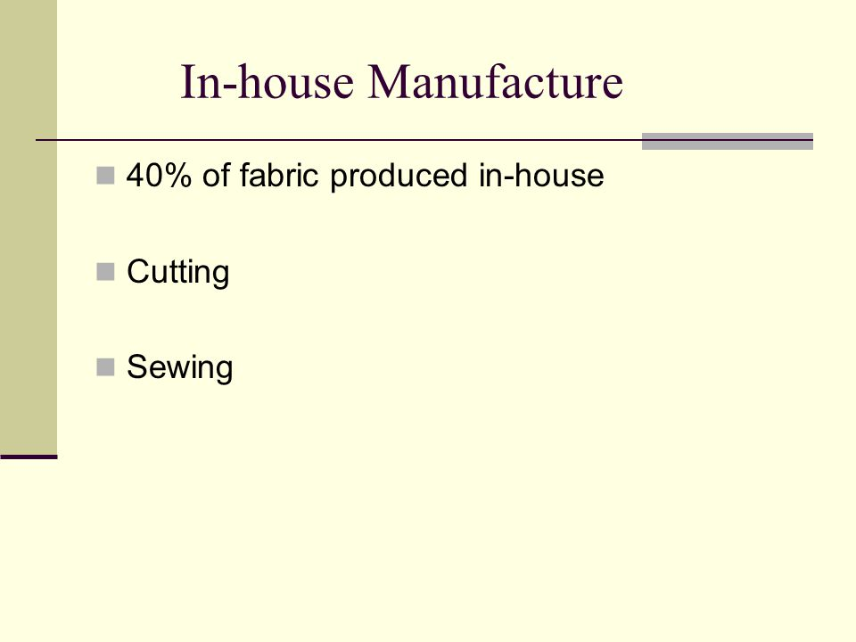 In-house Manufacture 40% of fabric produced in-house Cutting Sewing