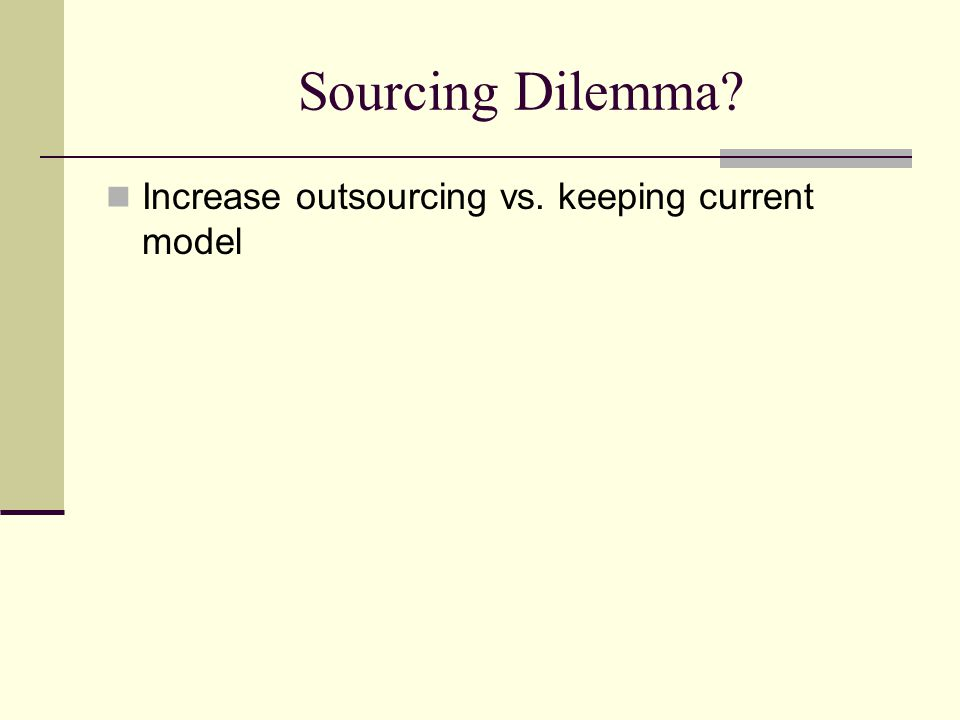 Sourcing Dilemma Increase outsourcing vs. keeping current model