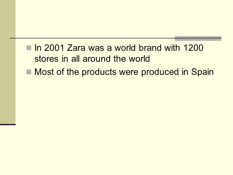 In 2001 Zara was a world brand with 1200 stores in all around the world