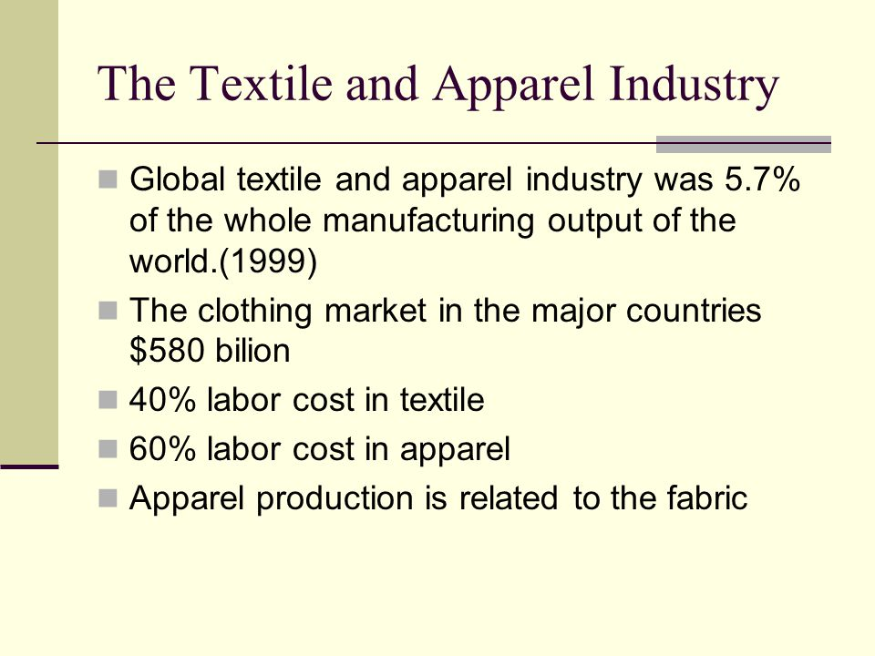The Textile and Apparel Industry