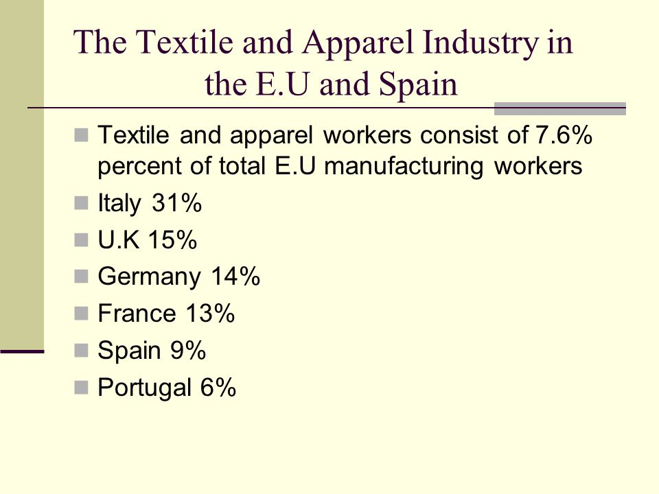 The Textile and Apparel Industry in the E.U and Spain