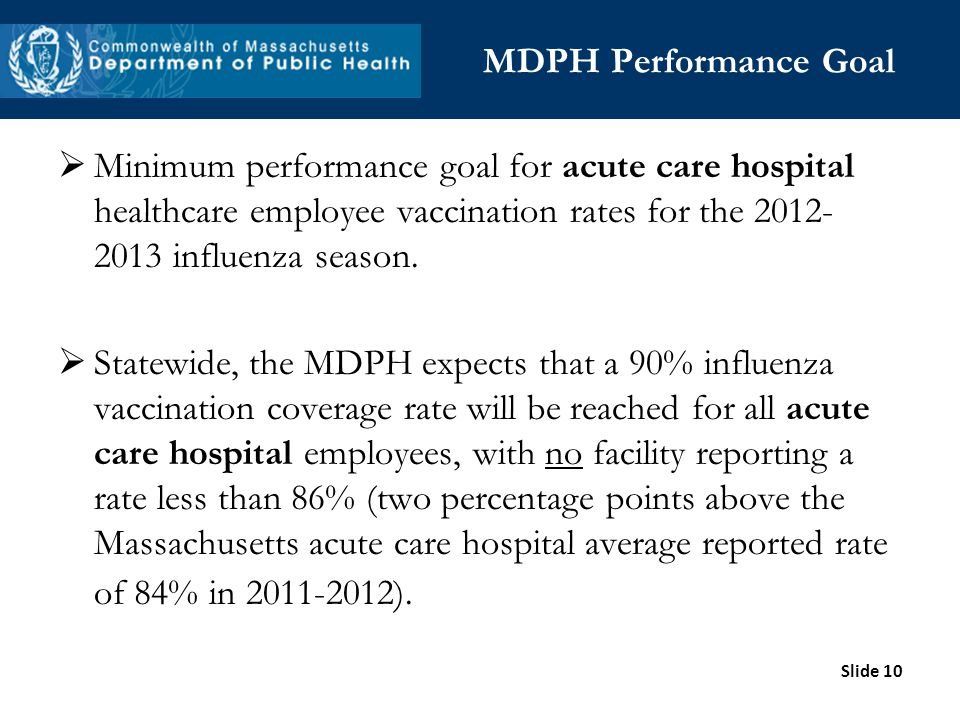MDPH Performance Goal Minimum performance goal for acute care hospital healthcare employee vaccination rates for the 2012-2013 influenza season.