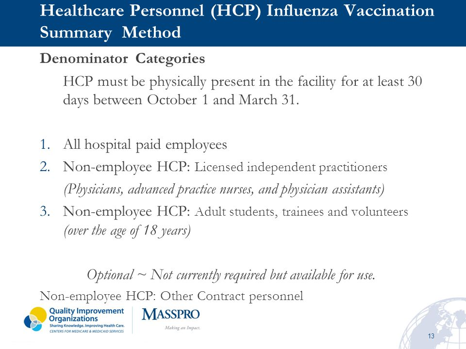 Healthcare Personnel (HCP) Influenza Vaccination Summary Method