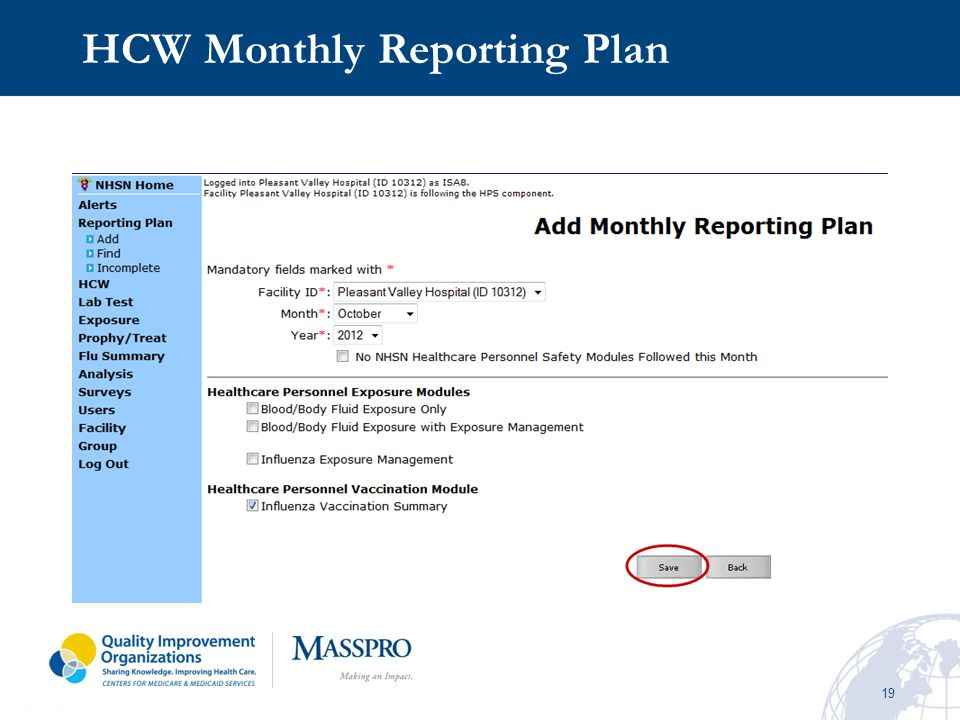 HCW Monthly Reporting Plan