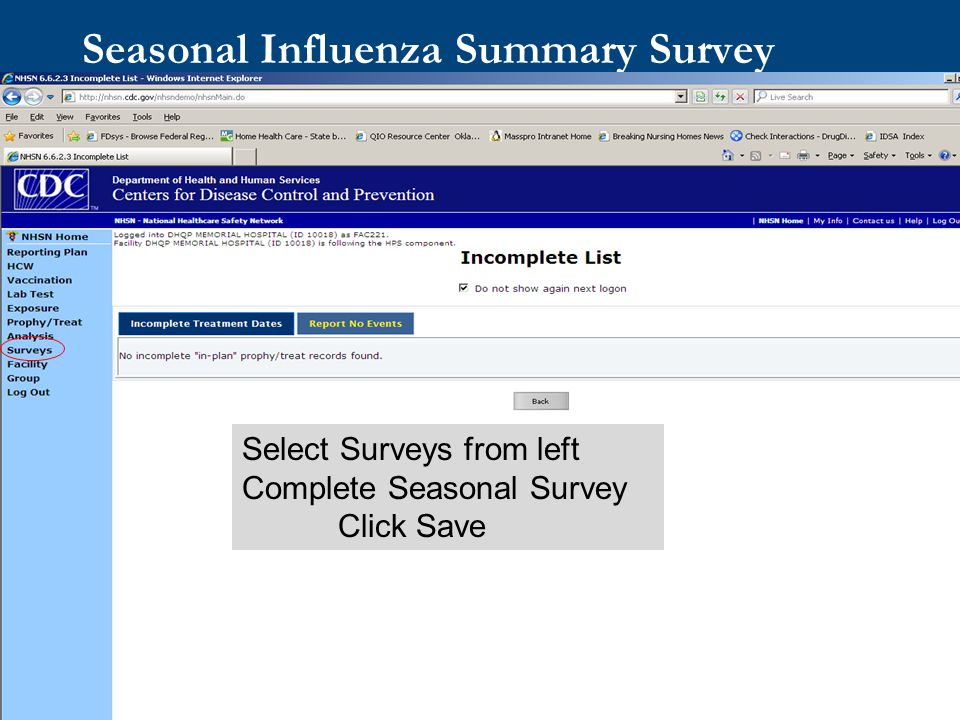 Seasonal Influenza Summary Survey