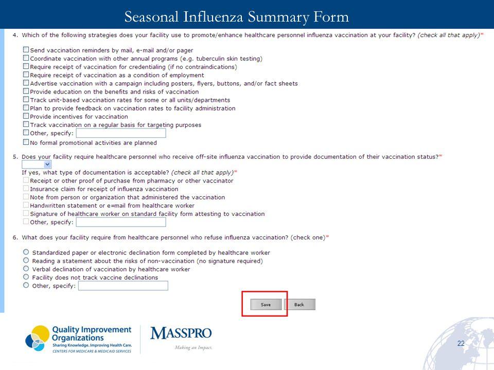 Seasonal Influenza Summary Form