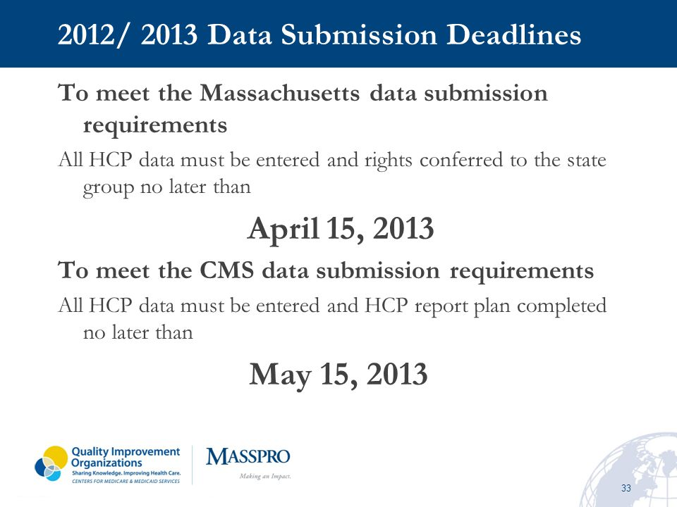 2012/ 2013 Data Submission Deadlines