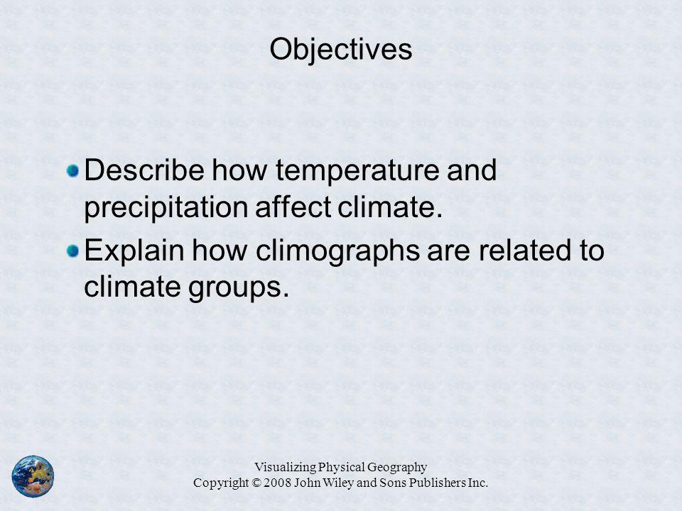 Describe how temperature and precipitation affect climate.