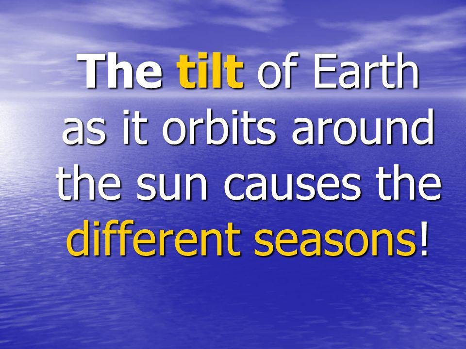The tilt of Earth as it orbits around the sun causes the different seasons!