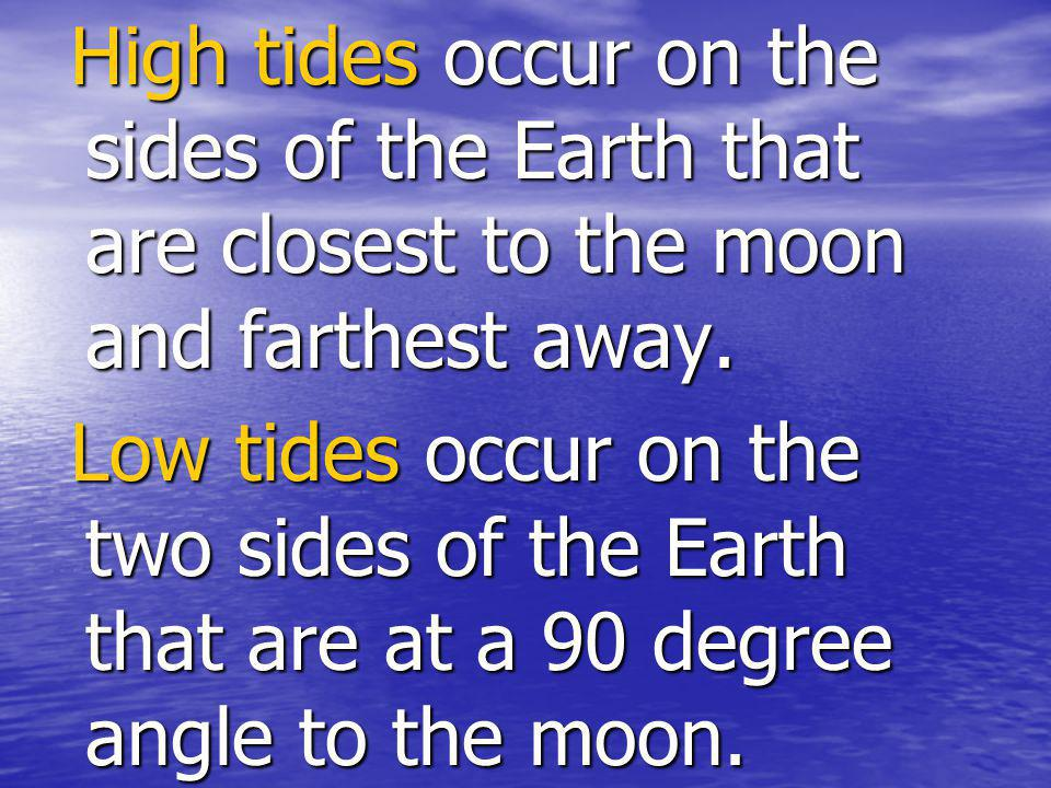 High tides occur on the sides of the Earth that are closest to the moon and farthest away.