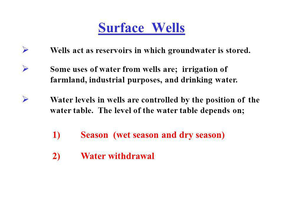 Surface Wells Wells act as reservoirs in which groundwater is stored.