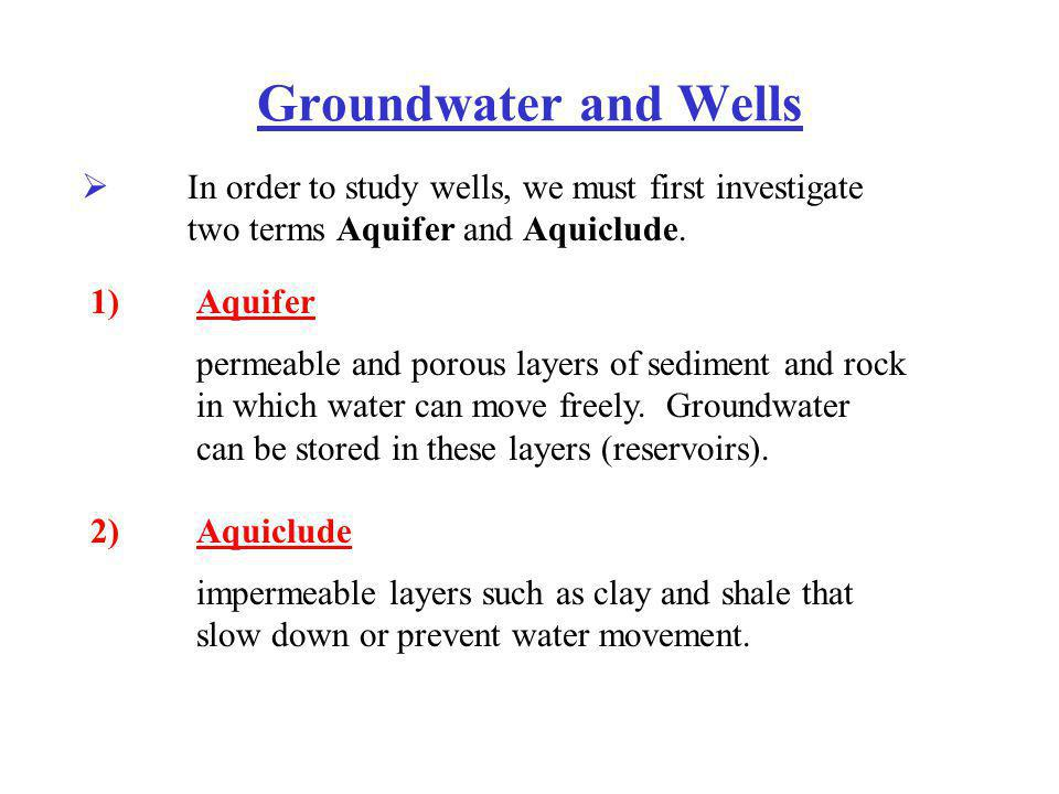Groundwater and Wells In order to study wells, we must first investigate two terms Aquifer and Aquiclude.