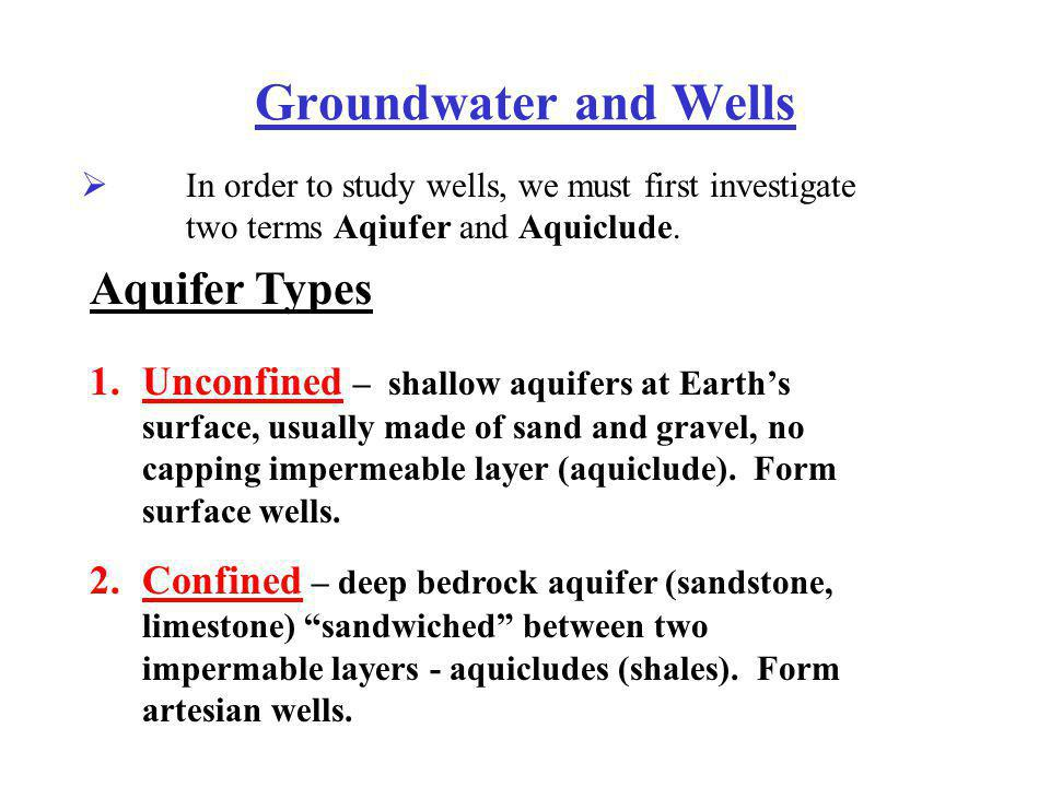 Groundwater and Wells Aquifer Types