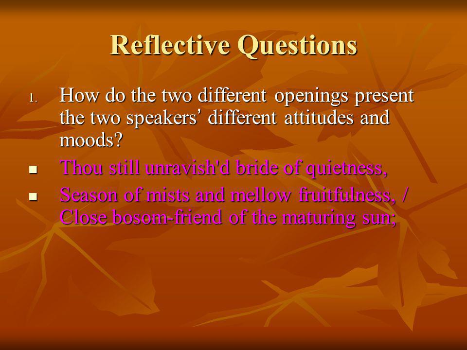 Reflective Questions How do the two different openings present the two speakers' different attitudes and moods
