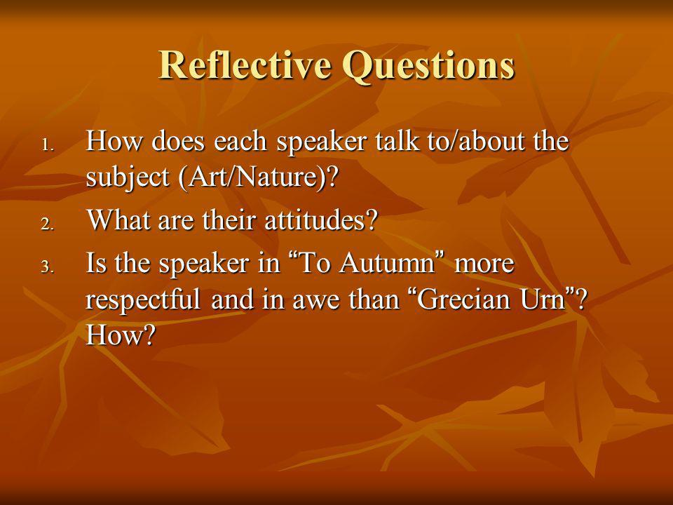 Reflective Questions How does each speaker talk to/about the subject (Art/Nature) What are their attitudes