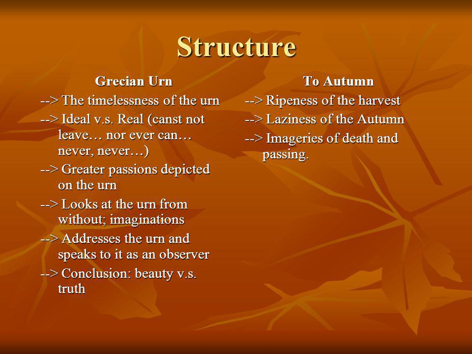 Structure Grecian Urn --> The timelessness of the urn