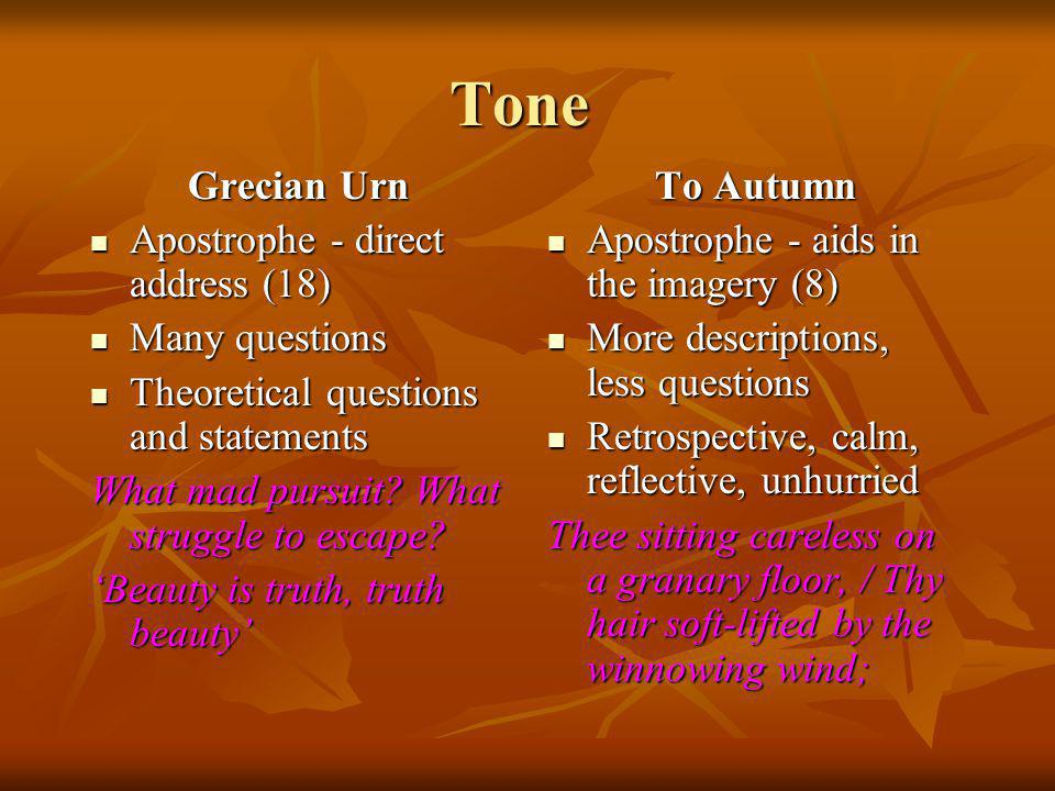 Tone Grecian Urn Apostrophe - direct address (18) Many questions