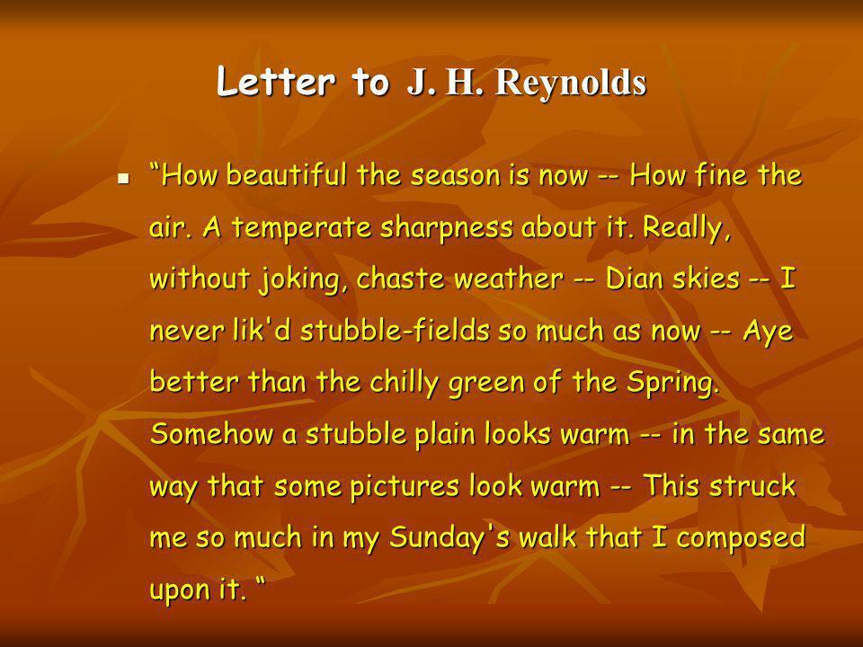 Letter to J. H. Reynolds