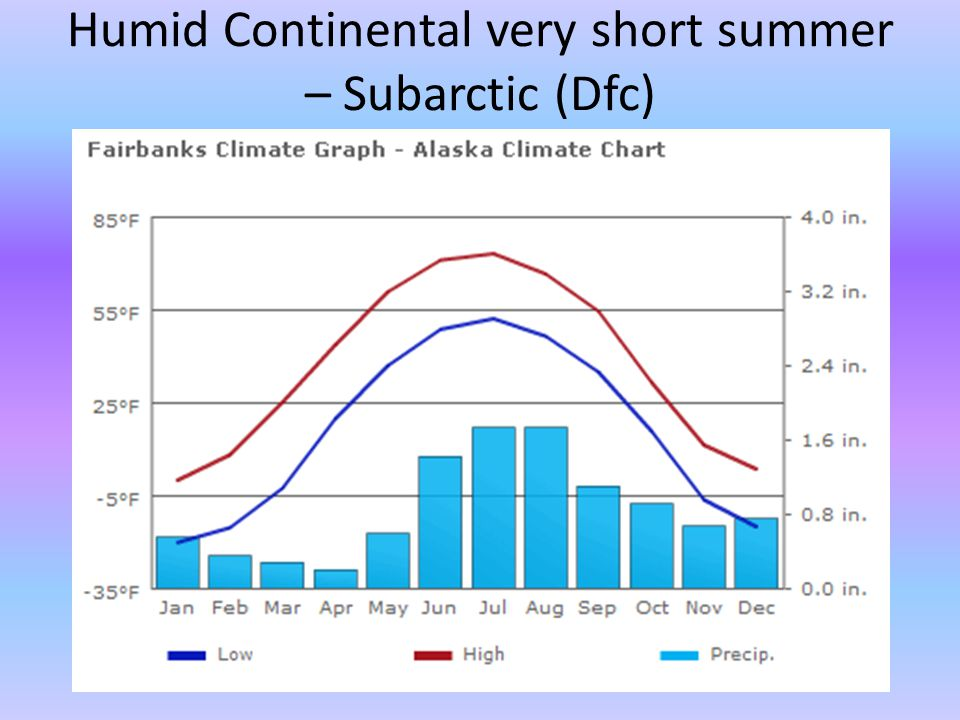 Humid Continental very short summer – Subarctic (Dfc)