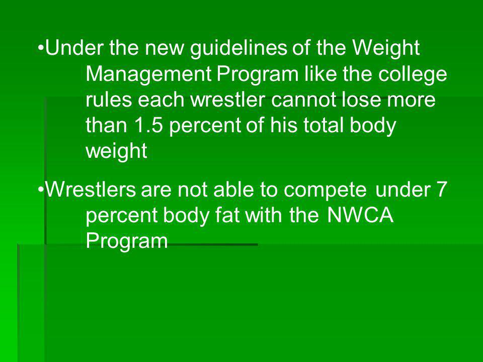 Under the new guidelines of the Weight