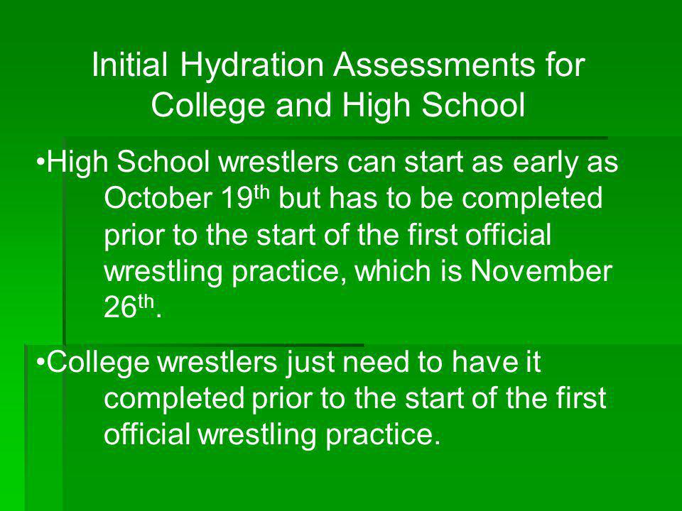 Initial Hydration Assessments for College and High School