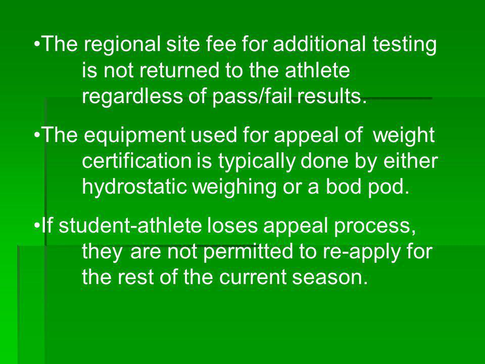The regional site fee for additional. testing