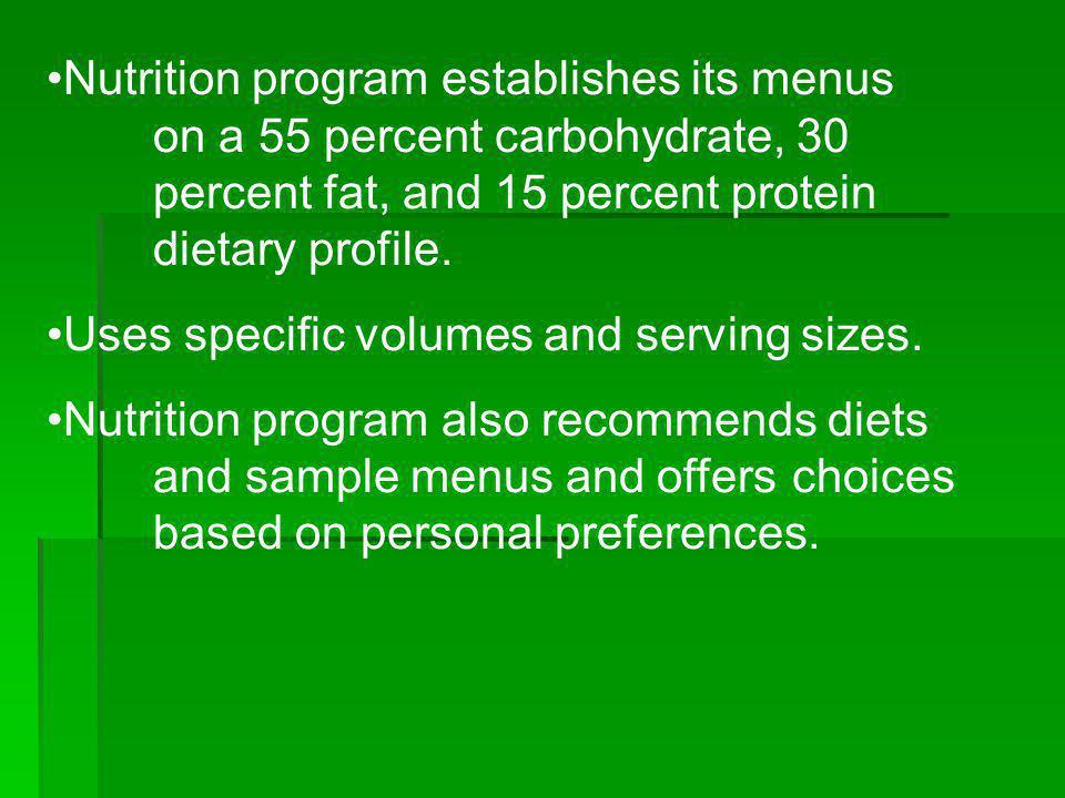Nutrition program establishes its menus
