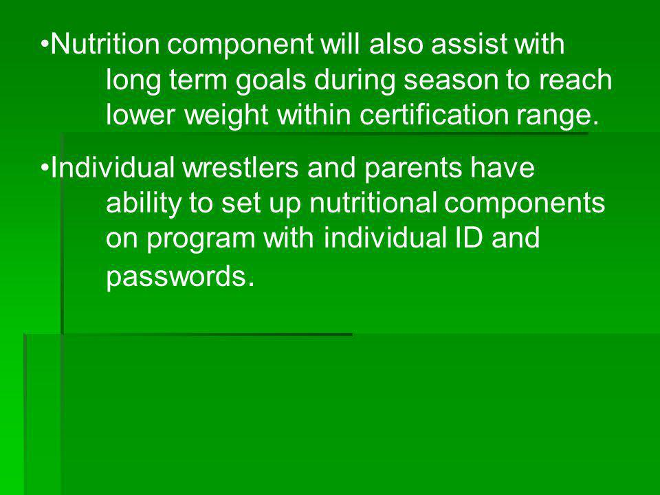 Nutrition component will also assist with