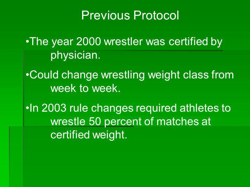 Previous Protocol The year 2000 wrestler was certified by physician.